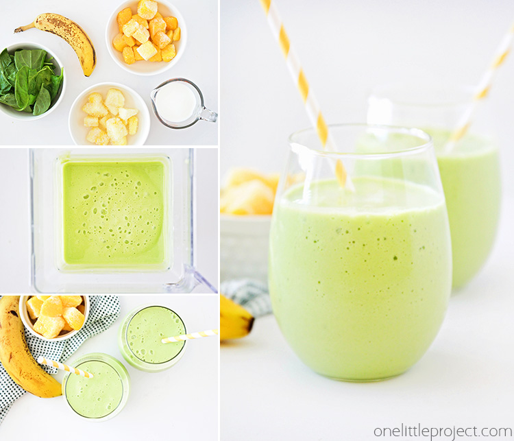 This tropical green smoothie has a delicious combination of flavors, and is so easy to make. It's the perfect healthy way to start the day!