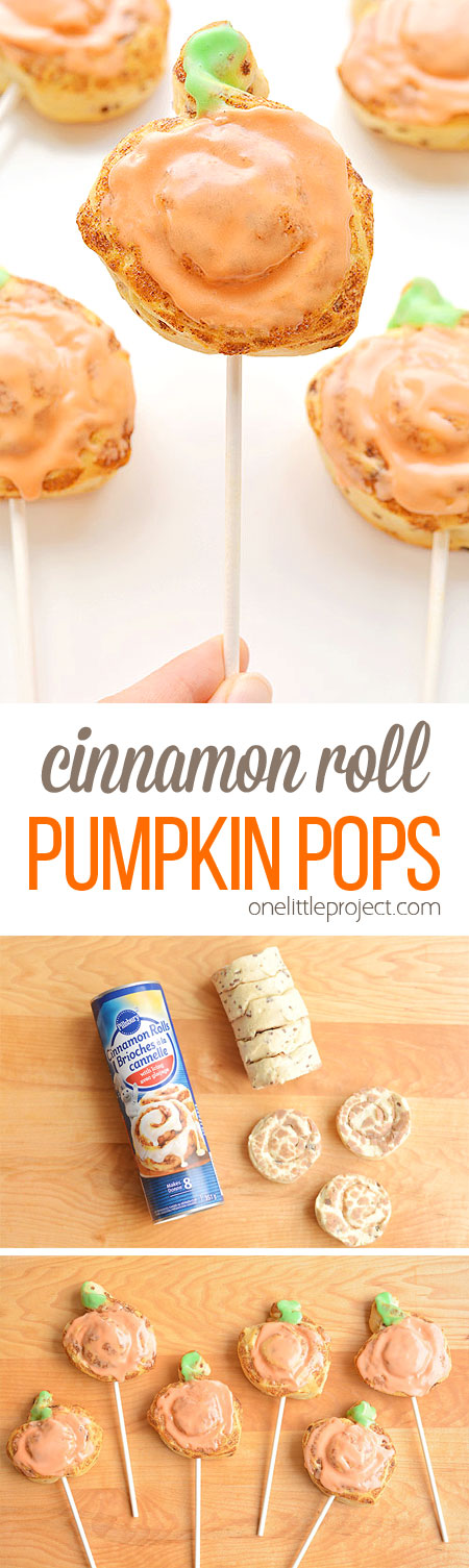 These cinnamon roll pumpkin pops are super easy, FAST, and kids absolutely LOVE them! This is such a fun dessert or snack idea for Halloween or Thanksgiving! You can whip up a batch in less than 20 minutes!