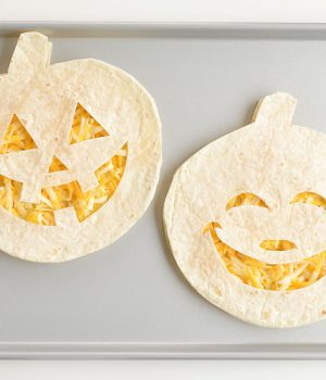 Fun and Easy Jack-o-lantern Cheese Quesadillas
