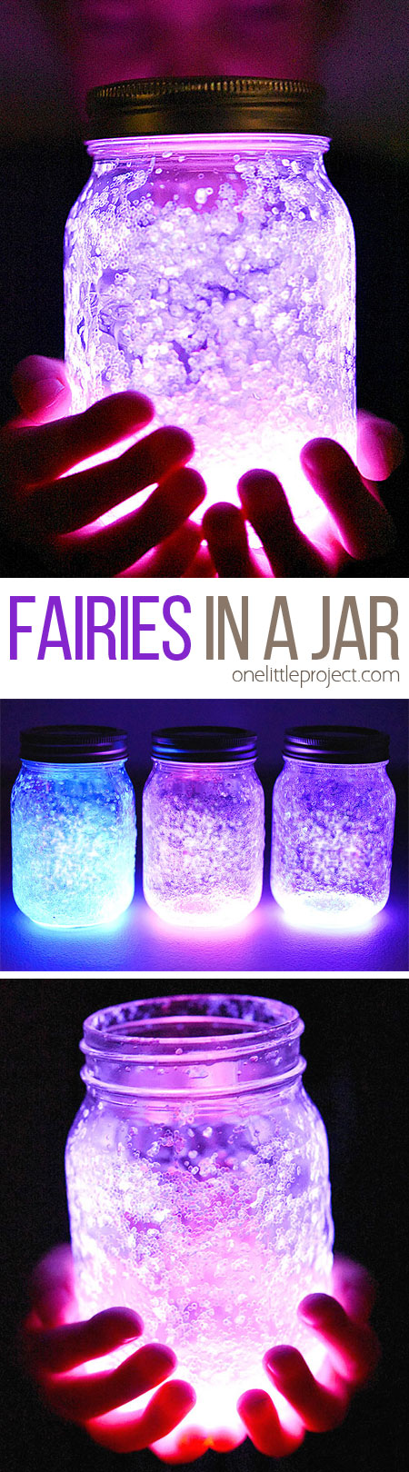 These fairy jars are so easy to make and they look SO COOL! All you need is a glow stick, glitter and a mason jar and you can capture your own twinkling fairies in a jar! This is such a great glow stick idea and a super easy kids activity!