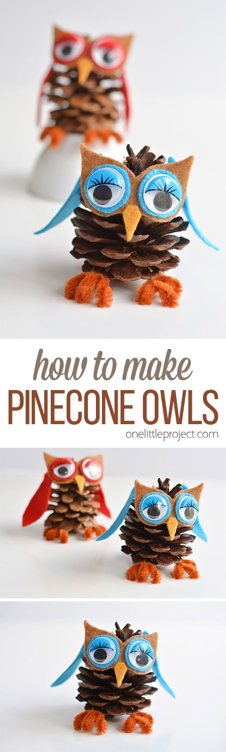 These pinecone owls are SO FUN and they're so easy to make! Best of all, you can get all the supplies at the dollar store! If you add a string, they make great Christmas ornaments! Such a great 5 minute craft idea!