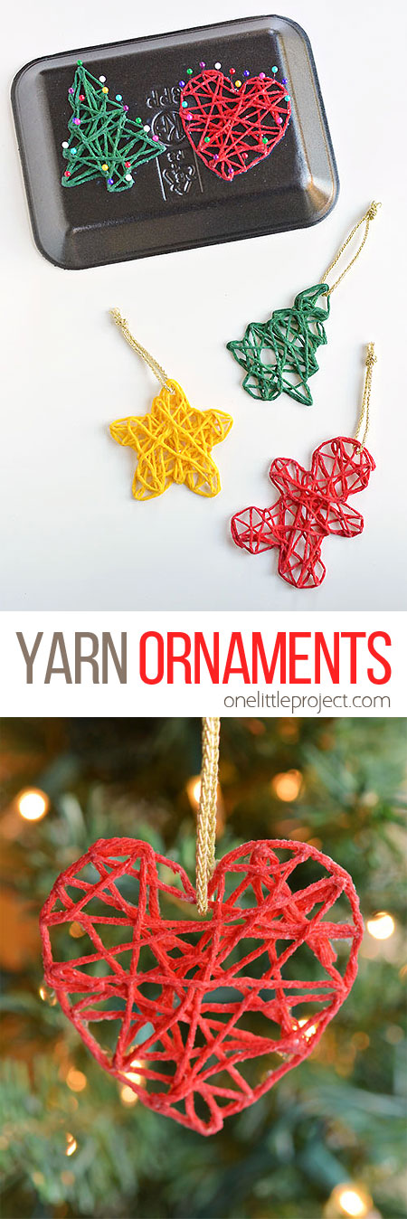 These wrapped yarn ornaments are SO PRETTY and they're so fun to make! Using yarn, glue, sewing pins and styrofoam trays you can make unique and beautiful homemade Christmas ornaments! They look beautiful on the Christmas tree and they make awesome gifts.