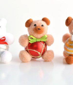 DIY Pom Pom Teddy Bear Ornaments