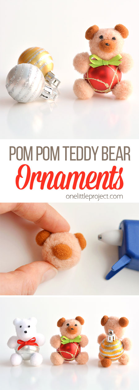 These pom pom teddy bear ornaments are ADORABLE for Christmas and they're super easy to make! All you need are dollar store pom poms and Christmas ball ornaments. This is such a fun dollar store kids craft idea for Christmas and a cute idea for homemade Christmas ornaments! Cutest little teddy bears ever!