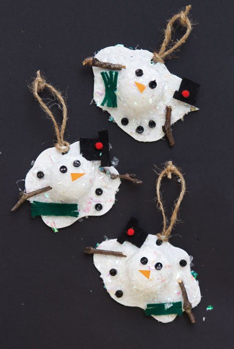 These melted snowman ornaments use faux snow and styrofoam balls to create the cutest snowman craft ever!