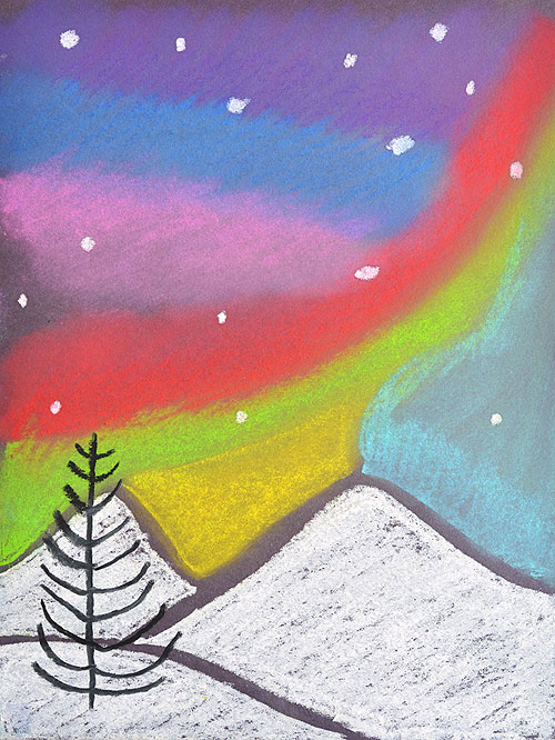 This simple northern lights chalk art project for kids is so much fun and makes such a gorgeous glowing sky over the mountains! It's a perfect activity for a snow day and also easy enough for a teacher to make with the entire class at school.