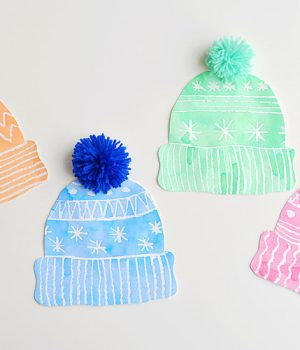 Kids Winter Hat Art Project With DIY Pom Poms