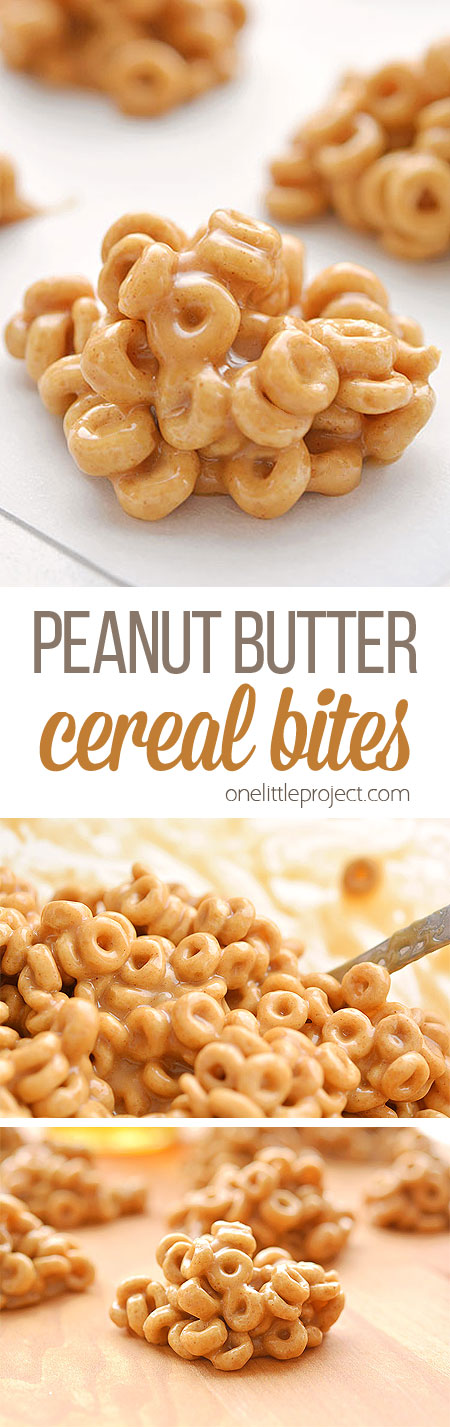 These peanut butter cereal bites are soooooo good! Made with Cheerios, they're a great breakfast to grab on the run and with only 4 ingredients they're super easy to make! They're a quick, easy, and delicious snack idea and the kids loved them!