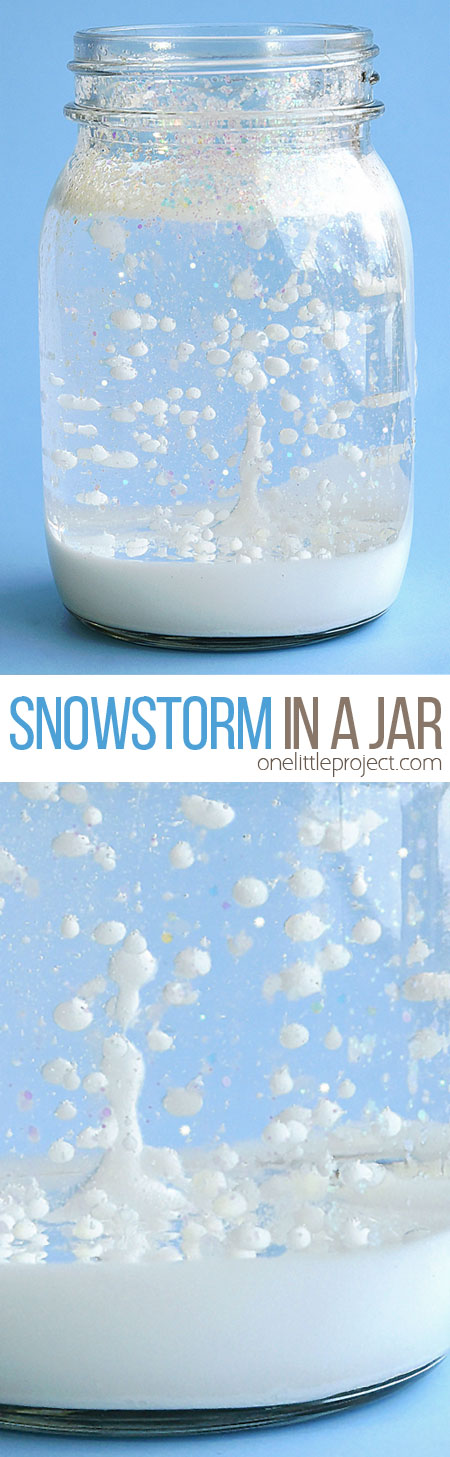 "This snowstorm in a jar is such a fun winter science experiment! It's really easy to put together and it looks so cool when it starts ""snowing""! It uses simple materials and it's a great way to learn about weather, density and other cool science topics!"