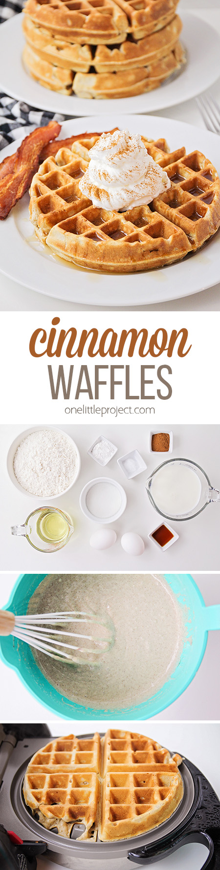 These light and fluffy cinnamon waffles are crisp on the outside, and have the perfect hint of spice. They'll make any breakfast extra special!