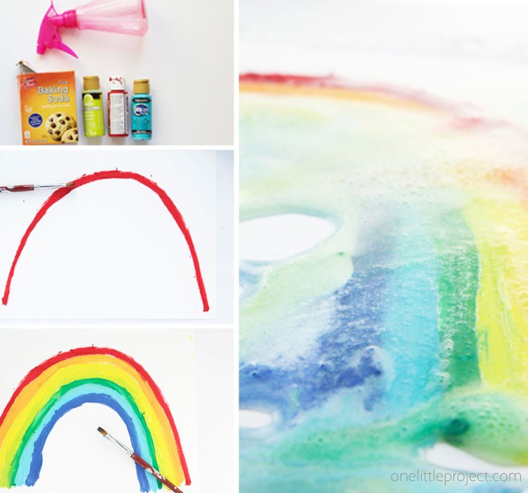 These fizzy paintings are a great STEM science activity for kids. Use baking soda and vinegar to see your painting come to life and see the colors swirl and mix!