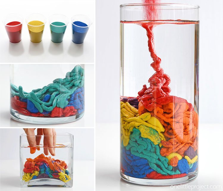 This underwater magic sand is SO COOL! This is such a fun science experiment to try with the kids! It's simple to put together, easy to clean up and you can use the sand again and again. Making your own waterproof, aqua sand is a great way to learn about science!
