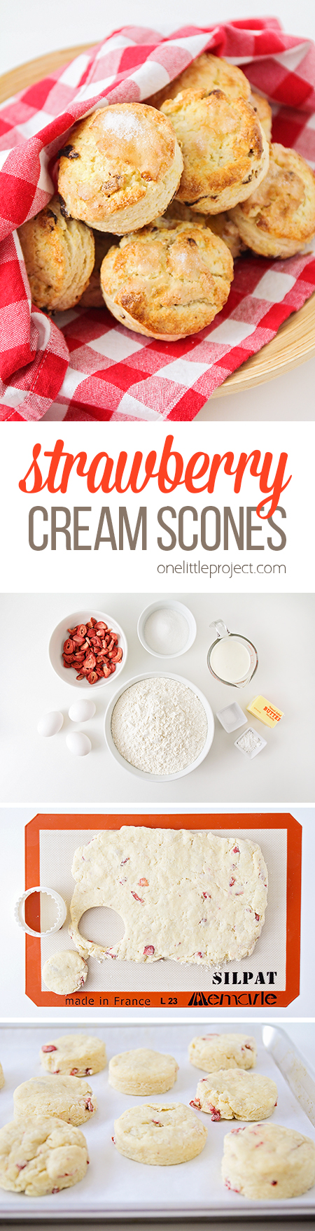 These sweet and simple strawberry cream scones are perfect for breakfast or dessert! They're an elegant and easy to make treat that everyone will love!