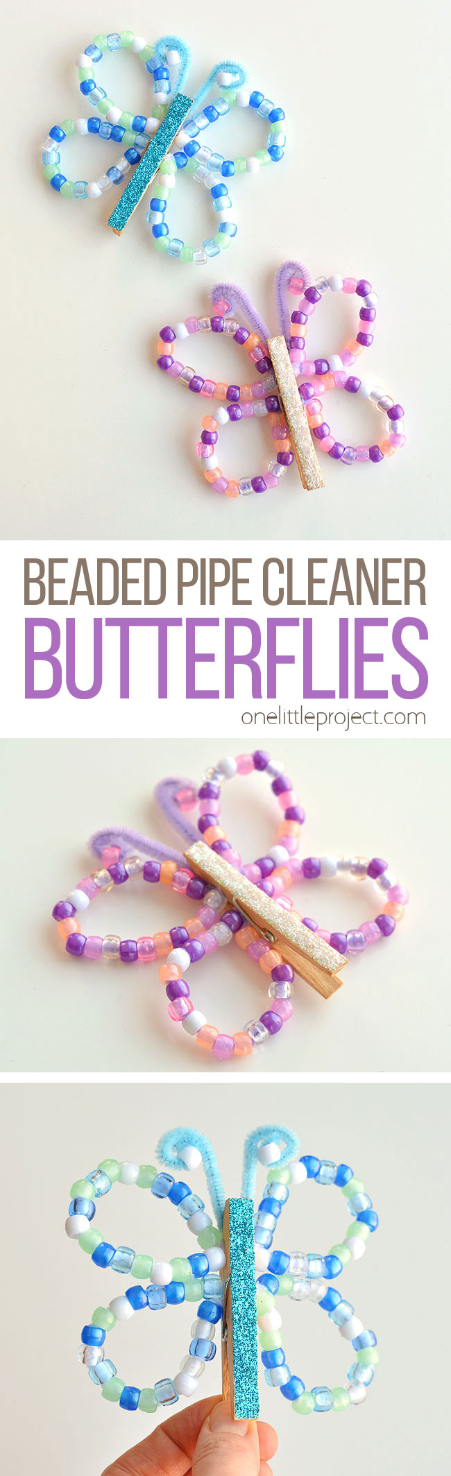 These beaded pipe cleaner butterflies are SO PRETTY and they're really easy to make! This is a great kids craft for spring or summer! Using pipe cleaners, pony beads and clothespins you can make beautiful butterflies in different colours! And best of all, the kids can play with them when they're done!