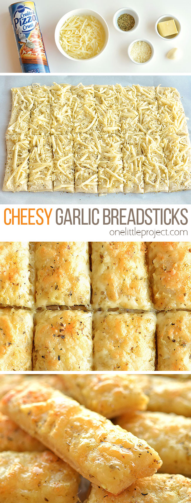 These cheesy garlic breadsticks are so easy to make and they taste SO GOOD! They take less than 20 minutes from start to finish and go really well with your favorite soups and salads. You can even serve them on their own with a little bowl of marinara sauce. This is such an easy, awesome and super delicious side dish recipe that uses Pillsbury refrigerated pizza crust.