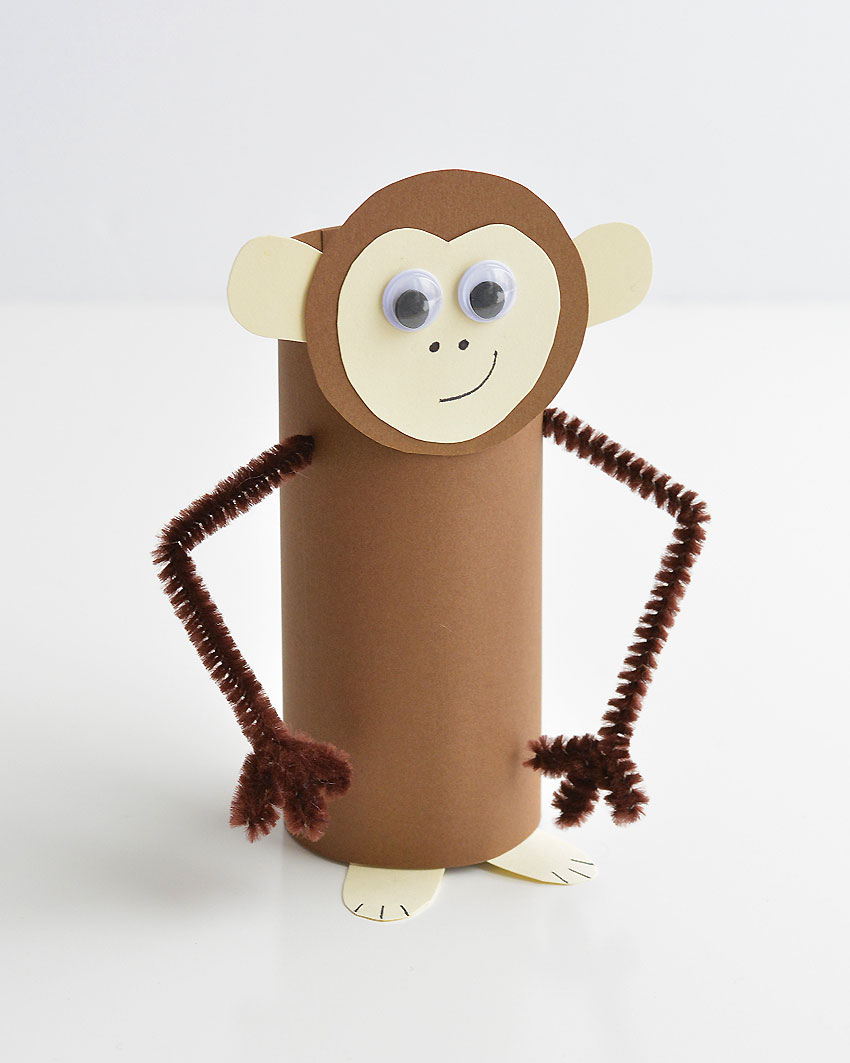 Paper Roll Monkey - These paper roll animals are SO CUTE, and they're really easy to make using simple craft supplies! If you use toilet paper rolls, it's a great way to upcycle! Or you can make your own paper rolls using card stock. Either way, this is a super fun kids craft that they can actually play with!