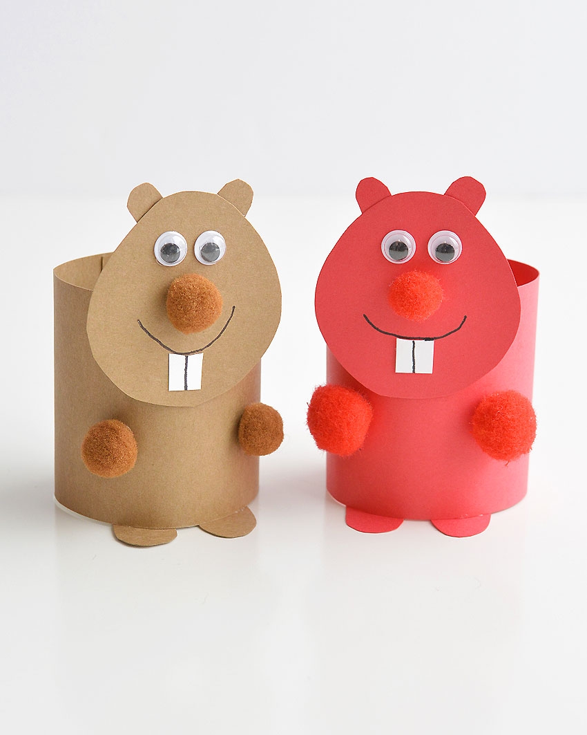 Paper Roll Beavers or Groundhogs - These paper roll animals are SO CUTE, and they're really easy to make using simple craft supplies! If you use toilet paper rolls, it's a great way to upcycle! Or you can make your own paper rolls using card stock. Either way, this is a super fun kids craft that they can actually play with!