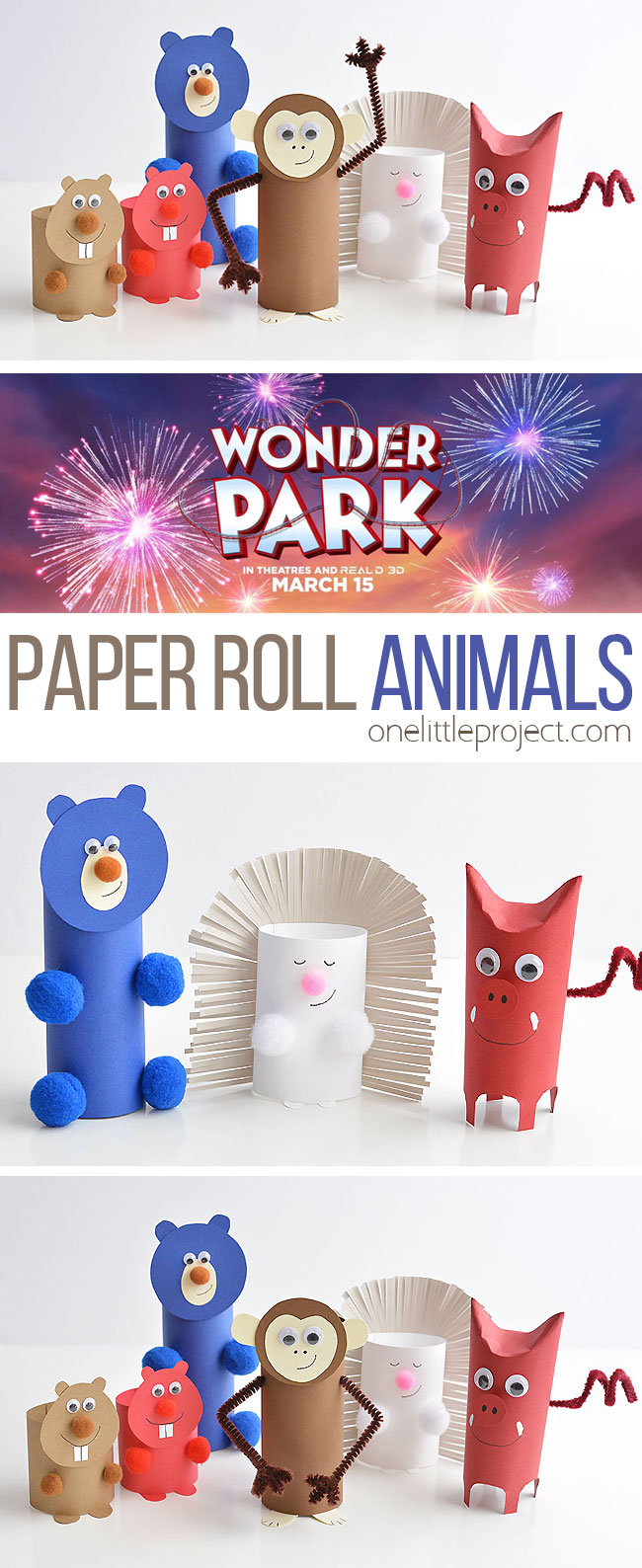 These paper roll animals inspired by Wonder Park (in theaters March 15) are SO CUTE, and they're really easy to make using simple craft supplies! If you use toilet paper rolls, it's a great way to upcycle! Or you can make your own paper rolls using card stock. Either way, this is a super fun kids craft that they can actually play with! #sponsored #WonderPark
