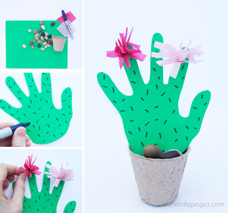 This handprint cactus craft is the perfect Mother's Day craft for kids. Mom or Grandma will just love receiving a keepsake handprint cactus this year!