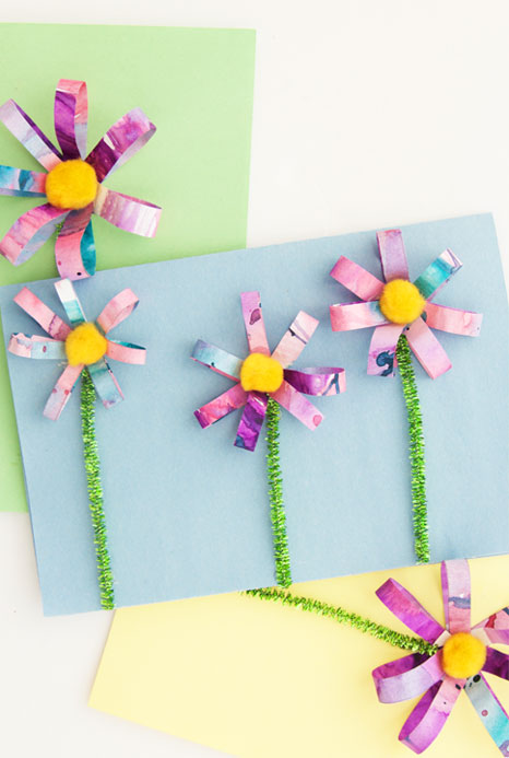 These 3D flowers are made with recycled watercolor paintings and are SO easy to make! Perfect handmade card idea for Mother's Day or Easter!