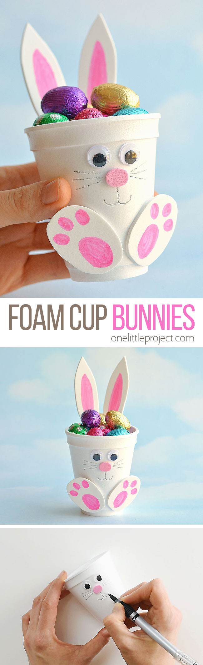 These foam cup bunnies are SO CUTE! I love how easy they are to make with simple craft supplies! Fill them with candy, chocolate eggs, pencil crayons, or even small toys. They take less than 10 minutes and make an awesome Easter treat idea! Make them as a decoration for the Easter table, or give them away as small Easter gifts. This is such a fun Easter craft for kids!