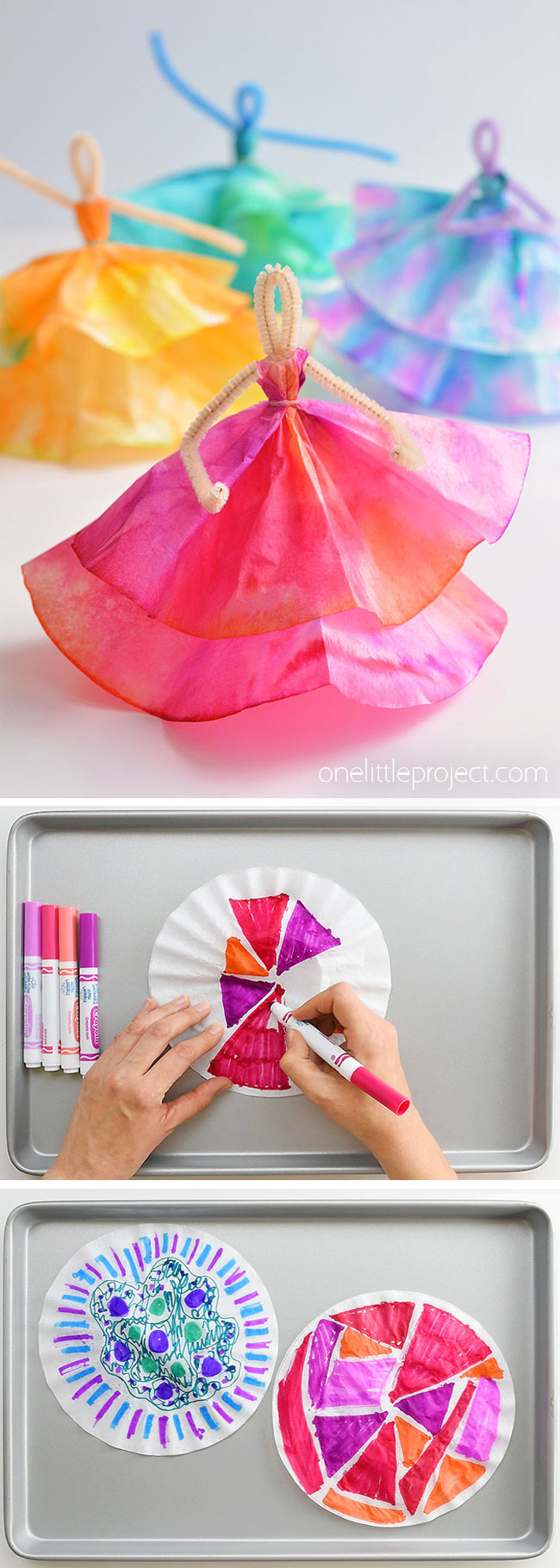 These coffee filter dancers are SO PRETTY! And all you need are markers, coffee filters and pipe cleaners. This is such a great coffee filter craft and a super fun craft for kids - I love crafts that the kids can play with when they're done. Kids love colouring the coffee filters and then watching the science magic that happens when the colours bleed together. I can't believe you can make something so beautiful from coffee filters!