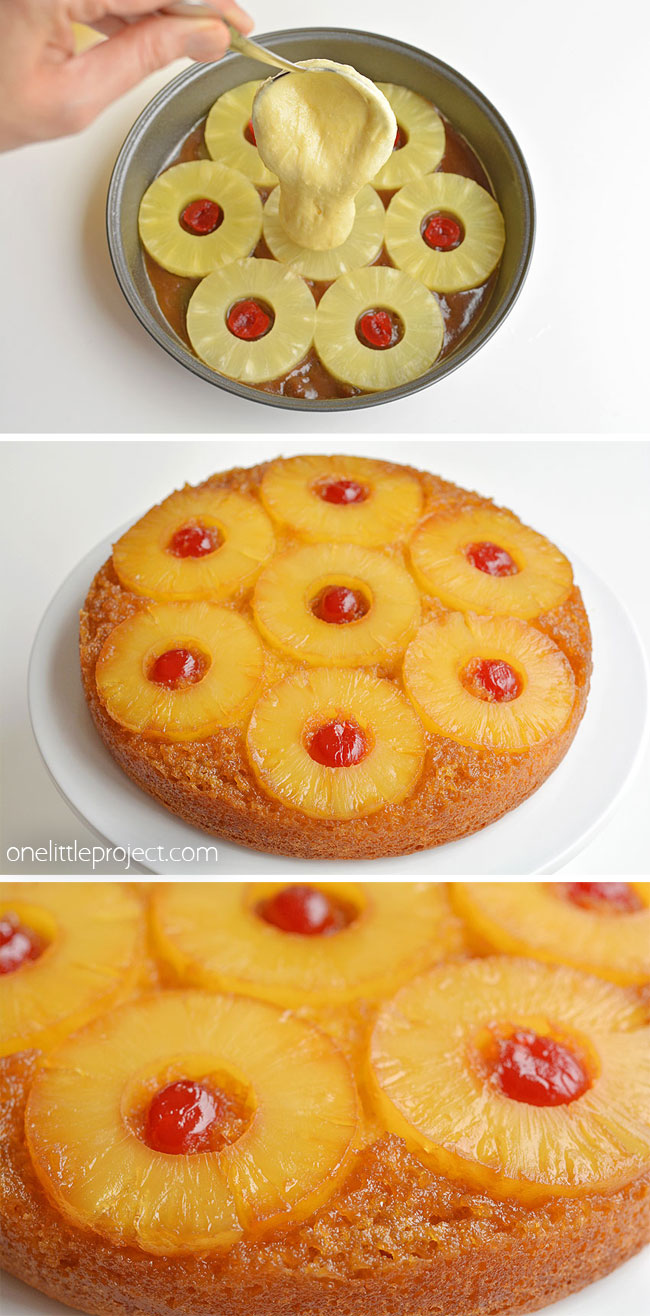 This pineapple upside down cake is so pretty and REALLY SIMPLE to make! This is such an easy dessert recipe that is simple enough to make at the last minute on a weeknight but beautiful (and DELICIOUS!) enough to serve to guests! That warm, gooey glaze that comes out with the pineapple is soooooo good!!