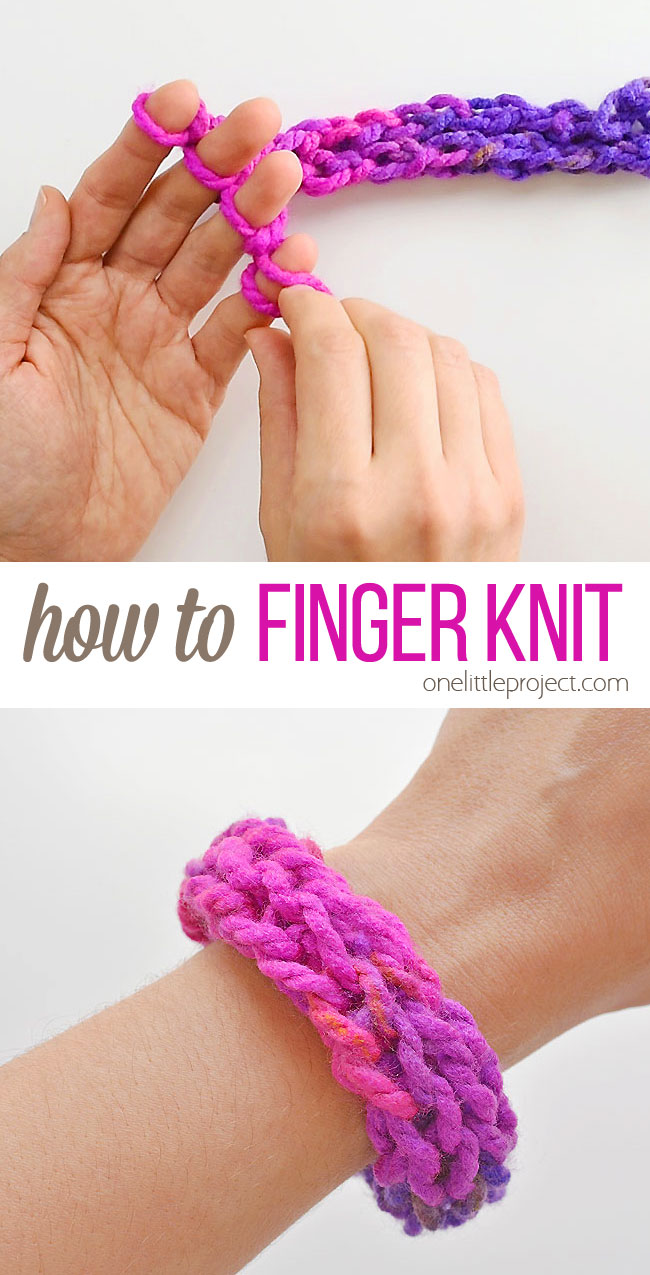 Finger knitting is such a fun and easy craft for kids! This kids activity (it's also a fun craft for adults!) is a great way to make friendship bracelets, necklaces or even headbands. It's super simple and kids can do it by themselves. In less than 15 minutes you can learn how to finger knit AND make your first bracelet! All you need is yarn and your hands!