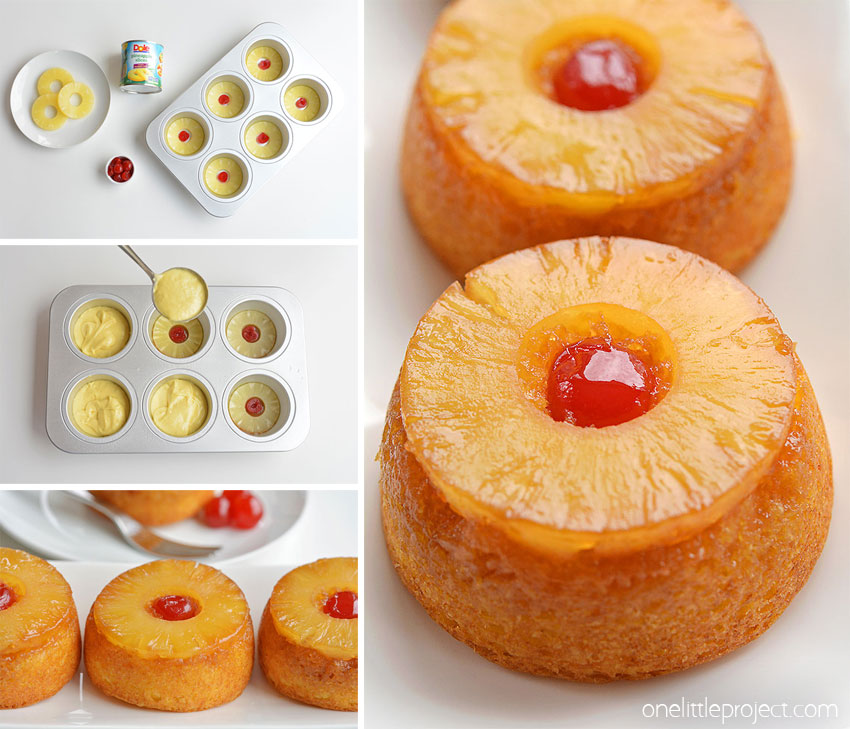 These mini pineapple upside down cakes are so pretty and they're REALLY SIMPLE to make! This is such an easy dessert recipe that is simple enough to make at the last minute on a weeknight but beautiful (and DELICIOUS!) enough to serve to guests! That warm, gooey glaze that comes out with the pineapple is soooooo good!!
