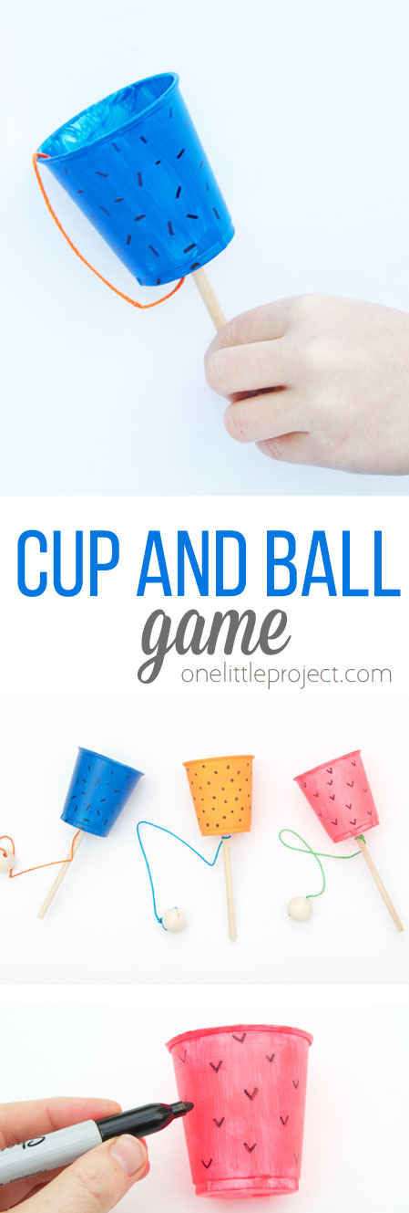 This cup and ball game craft is SO EASY to make and would be the perfect craft for a kids birthday party!