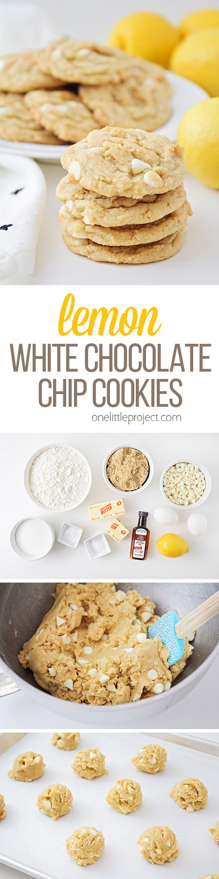 These lemon white chocolate cookies are a fun and delicious twist on classic chocolate chip cookies! They're so soft and chewy, with a sweet lemon flavor!