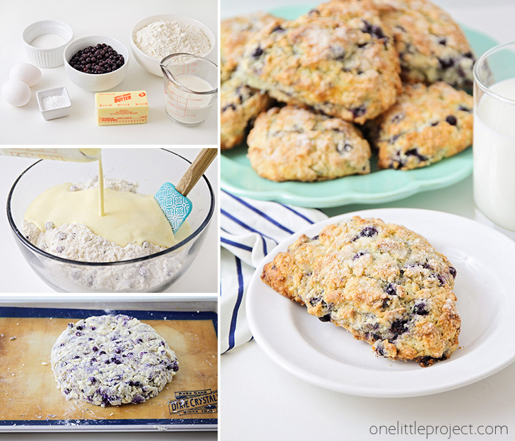 These wild blueberry scones are perfect for breakfast, brunch, or dessert! They're lightly sweetened, loaded with blueberries, and totally delicious!