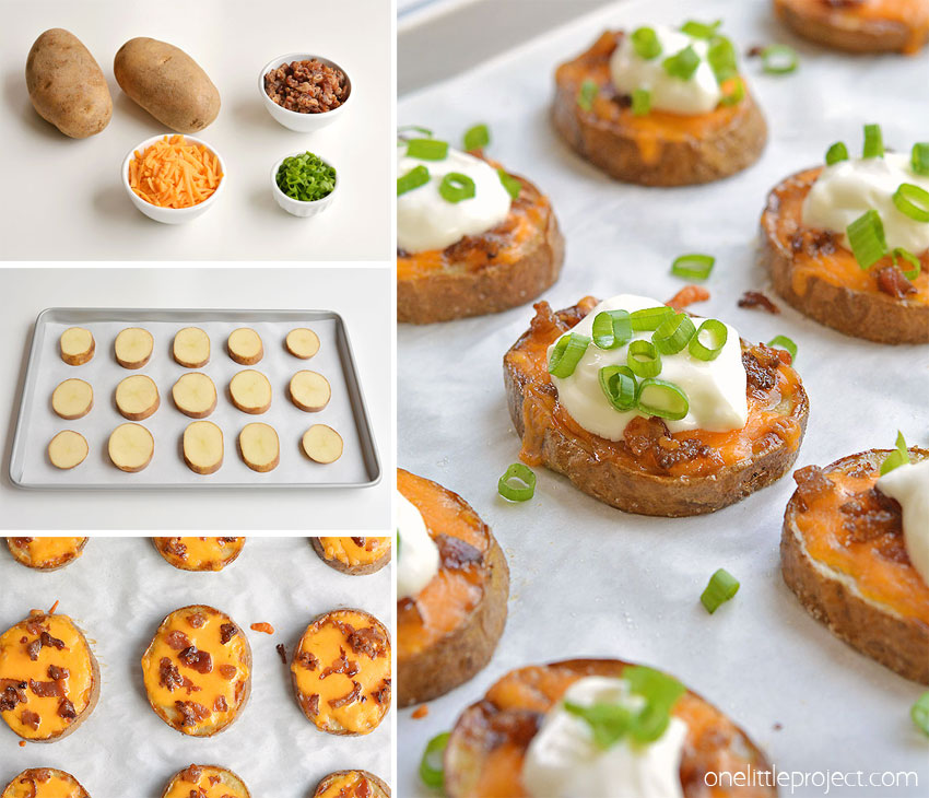 These easy baked potato skins are SO GOOD. This is such a great appetizer recipe! So simple to make and they taste amazing. They're like little bites of loaded baked potatoes. Serve them warm with your favourite baked potato toppings. They make a great game day snack, an easy appetizer and a great dinner side dish. Such a yummy recipe!