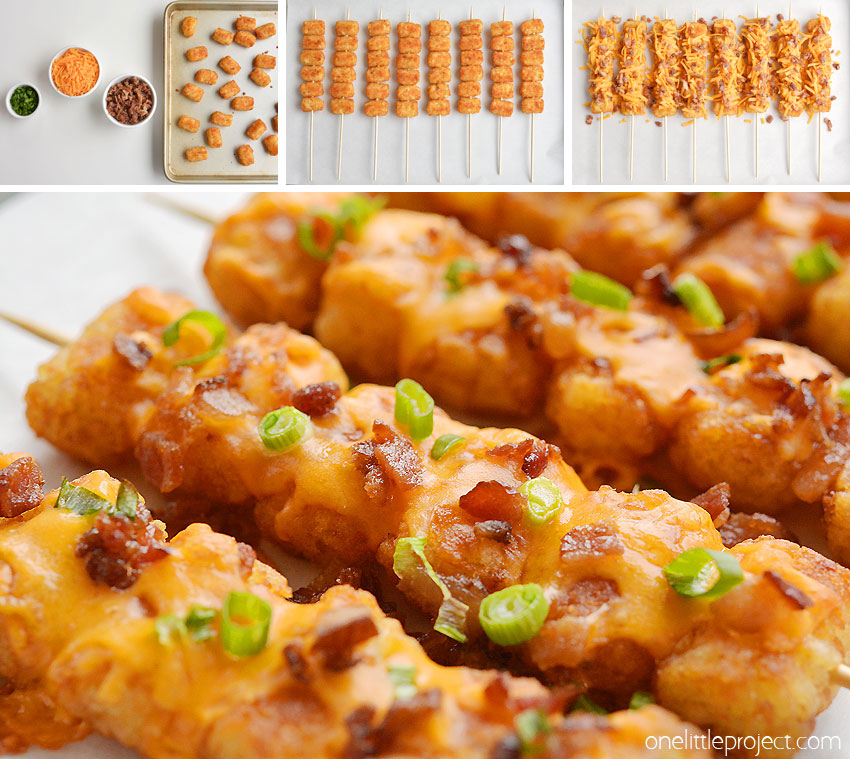 These loaded tater tot skewers are so delicious and they're really easy to make! This is such an easy appetizer recipe! It's great for game day and parties but it also makes a fun side dish for dinner. Loaded with cheese and bacon these are soooo good!