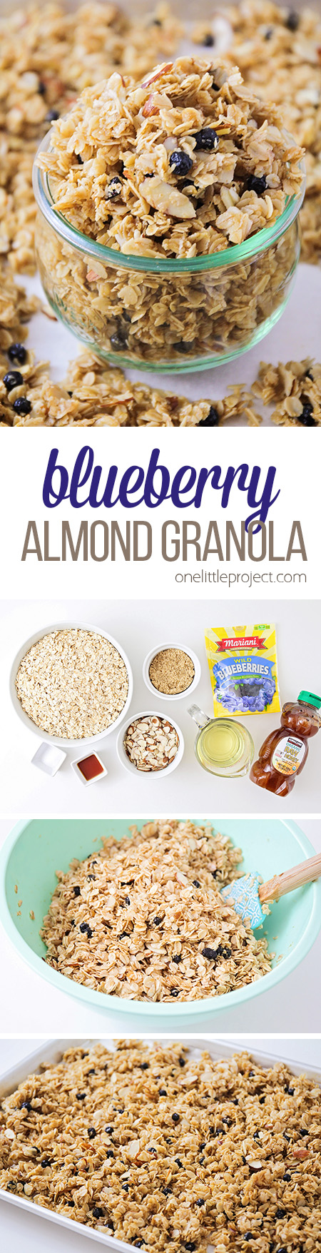 This delicious and crisp blueberry almond granola is so easy to make at home, and incredibly delicious! It makes a fantastic breakfast or snack!