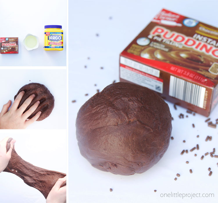 This chocolate pudding slime only requires 4 ingredients and smells so yummy! It's SUCH an easy edible slime recipe!