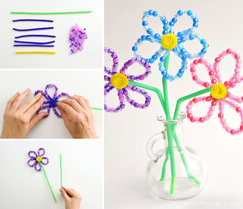 These beaded pipe cleaner flowers are SO PRETTY and they're really easy to make! This is such a fun kids craft and a great activity to develop fine motor skills. Each flower takes less than 10 minutes to make using simple craft supplies. This is a great spring craft or summer craft idea! Wouldn't they make an awesome homemade Mother's Day gift!?