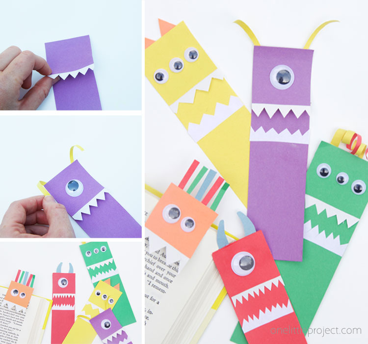 These paper monster bookmarks are so easy to make and make a great back to school craft for kids! Hook the monsters into a book for a silly bookmark!