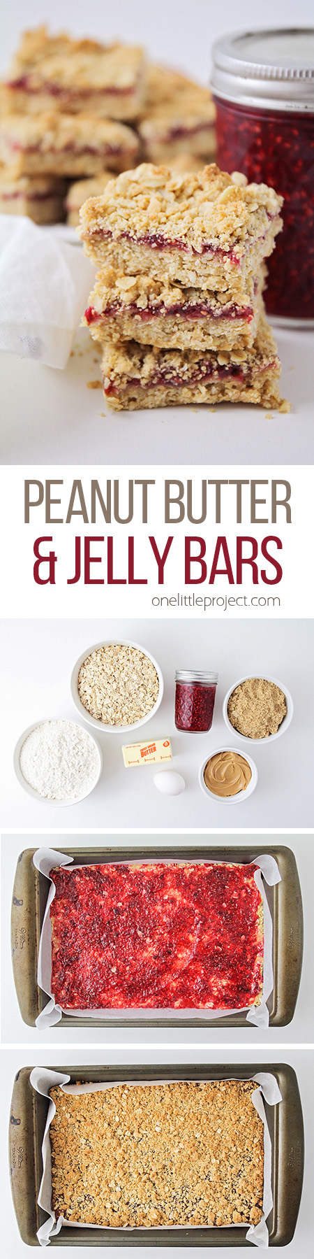 These crunchy and sweet peanut butter and jelly bars are the perfect after school snack! They're so easy to make, and totally delicious!
