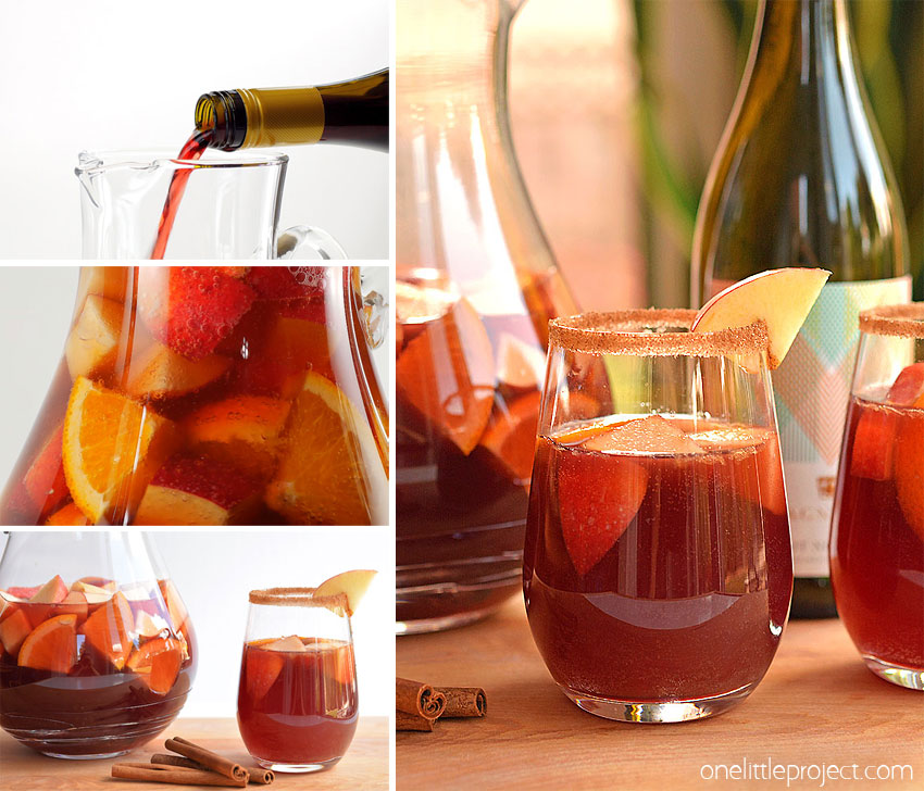 This recipe for autumn sangria is SO GOOD!! Infused with cinnamon and apples, this red wine sangria recipe is fruity, with just a hint of spice and tastes delicious! It's one of the easiest big batch cocktails you can make and by making it a day ahead there's no last minute rush. It has all the yummy flavours of autumn and is a crowd pleasing cocktail for any fall occasion, whether it's Thanksgiving, a get together with friends or just a relaxing evening at home.