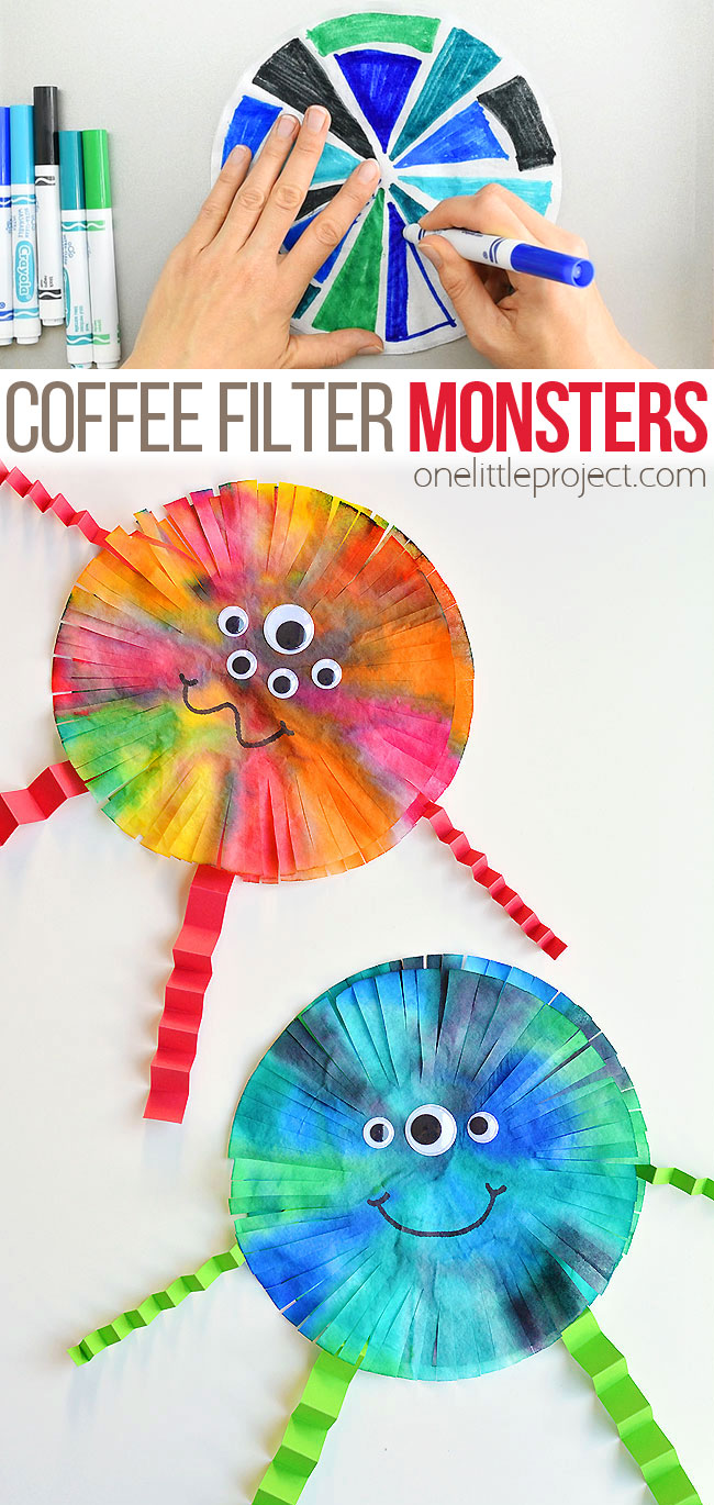 These coffee filter monsters are SO FUN to make and they look amazing! They'd look great hung up on the wall or window! This is such a fun Halloween craft for kids. It would also be a great craft for a monster themed birthday party. Such a simple way to make some non-spooky Halloween decor! With so many ways to colour and decorate, no two monsters will be exactly the same!