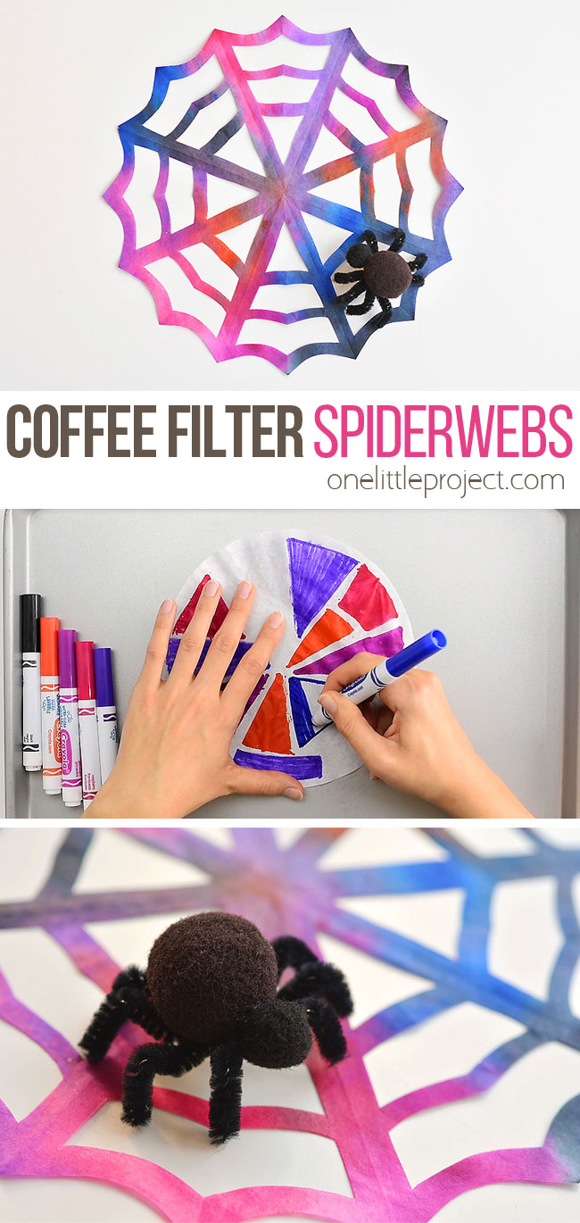 These coffee filter spiderwebs are SO EASY to make and they look AWESOME! The pipe cleaner and pom pom spider is so simple, but it really makes this Halloween decoration look amazing! This is such a fun Halloween craft for kids and a simple way to make some spooky Halloween decor!