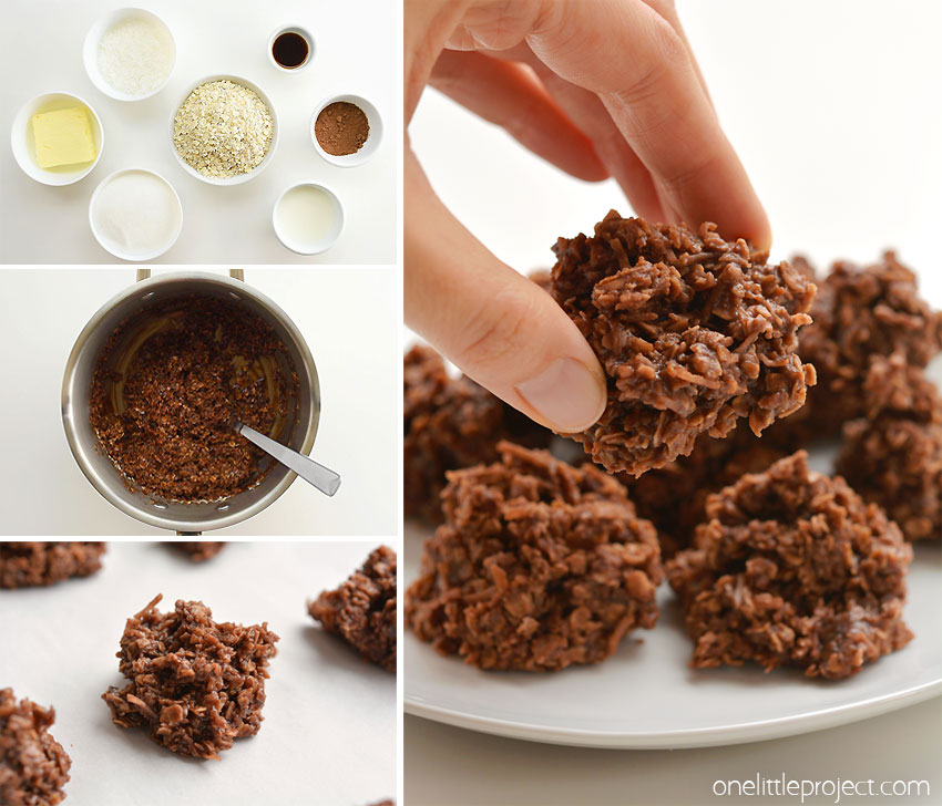 These no-bake chocolate haystacks cookies are SO EASY to make and they taste so good! This is such an awesome kid friendly snack recipe to make with the kids! Loaded with oats and coconut they make an excellent after school snack. They're hearty, reasonably healthy and kids love them! Plus they're super fast to put together!