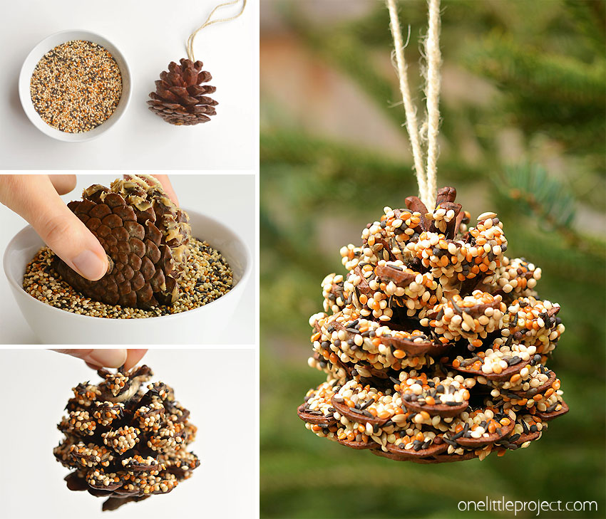 These pinecone bird feeders are SO PRETTY and they're so easy to make! With just a few simple supplies you can make one in less than 10 minutes! It's a great craft for kids, tweens, teens, adults, seniors and even in the classroom! It's so much fun to watch the birds it brings to the backyard!