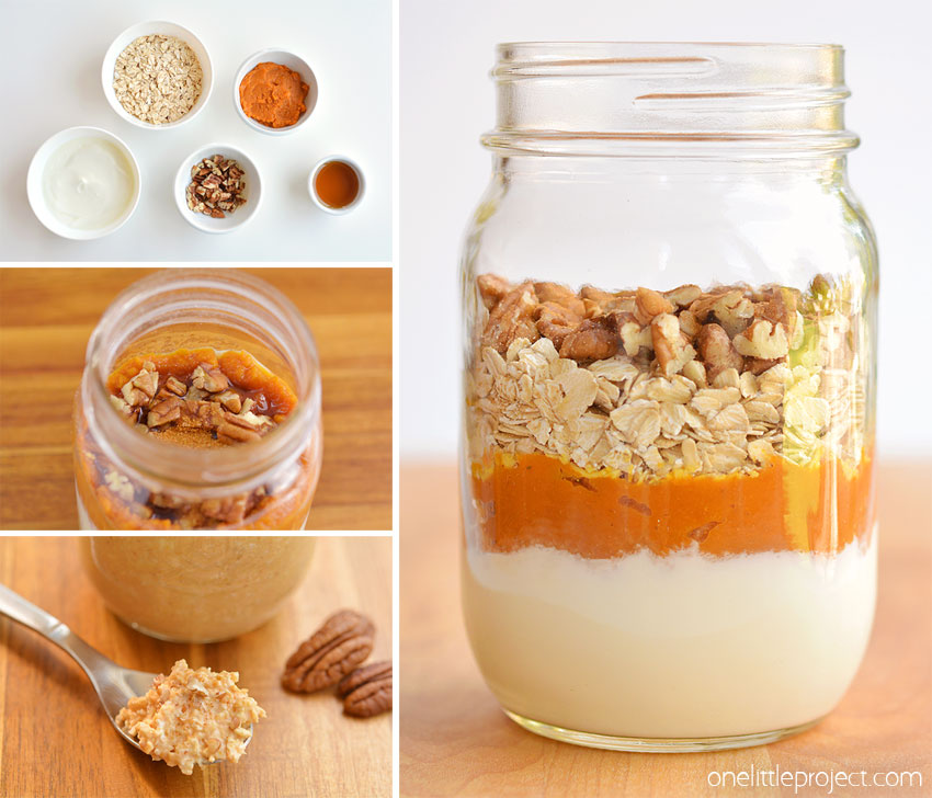 This pumpkin pie overnight oats recipe tastes SO GOOD! It has yummy fall flavours and is so hearty and comforting! It's a delicious, healthy and quick breakfast idea and a great way to save time in the morning! Such a great make ahead breakfast recipe!