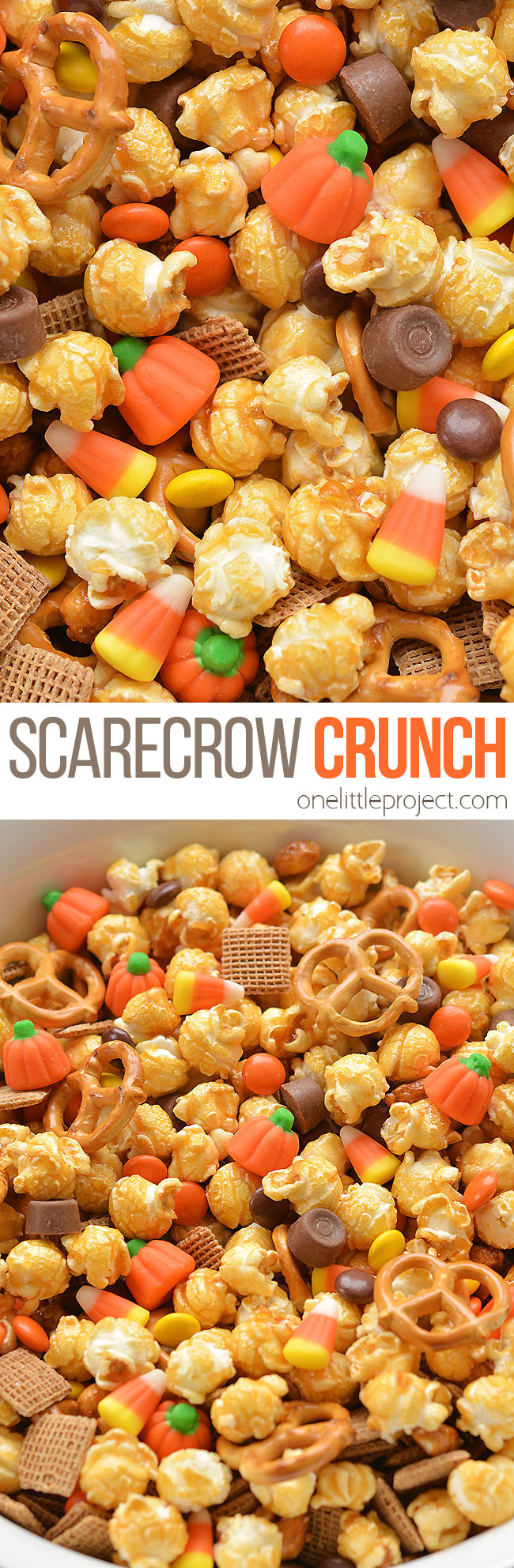 "This scarecrow crunch snack mix is SO EASY to make and tastes so good! This is such an awesome kid friendly Halloween snack recipe. It would also make an awesome Thanksgiving treat! Loaded with the perfect mix of salty and sweet treats, this ""boo-tiful"" blend is exactly what you need to celebrate the spookiest night of the year! Or just fall and autumn in general!"