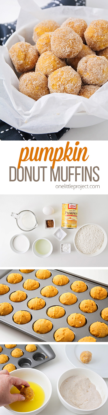 These bite-sized pumpkin donut muffins are the perfect treat for fall! They're so light and tender, and rolled in spiced sugar for extra deliciousness!