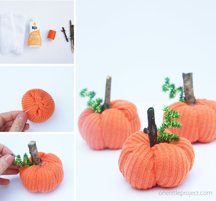 For an easy DIY fall decor craft that kids will love, turn socks into pumpkins with just a few materials!