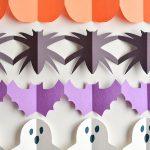 Halloween Paper Garland Cutouts – Bats, Spiders, Pumpkins, Ghosts and Black Cats!