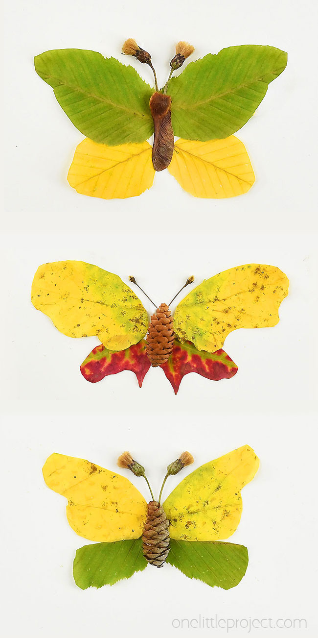 These autumn leaf butterflies and dragonflies are SO COOL and they're really easy to make! Go on a nature walk and see what fun leaves, flowers, pinecones, thistles, and sticks you can find. You can make all sorts of fun creatures from fall leaves! This Autumn nature craft is such a fun fall craft for kids!